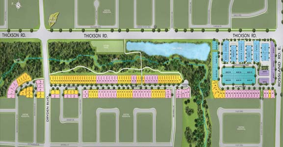 Whitby Townhomes and Single Family homes site plan. On sale now at Thickson rd and Rossland rd E