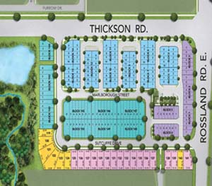 Whitby townhome site plan, at Thickson rd and Rossland Rd E