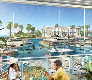 One Particular Harbour marina and boathouse allows access to the Gulf of Mexico