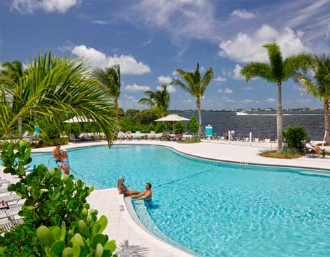 Amenities at One Particular Harbour include pools overlooking Anna Maria Sound.