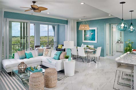 Waterfront Residential interior is open concept, brightly colored and full of windows