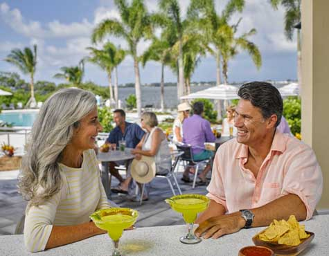 Couple enjoying One Particular Harbour Clubhouse amenities