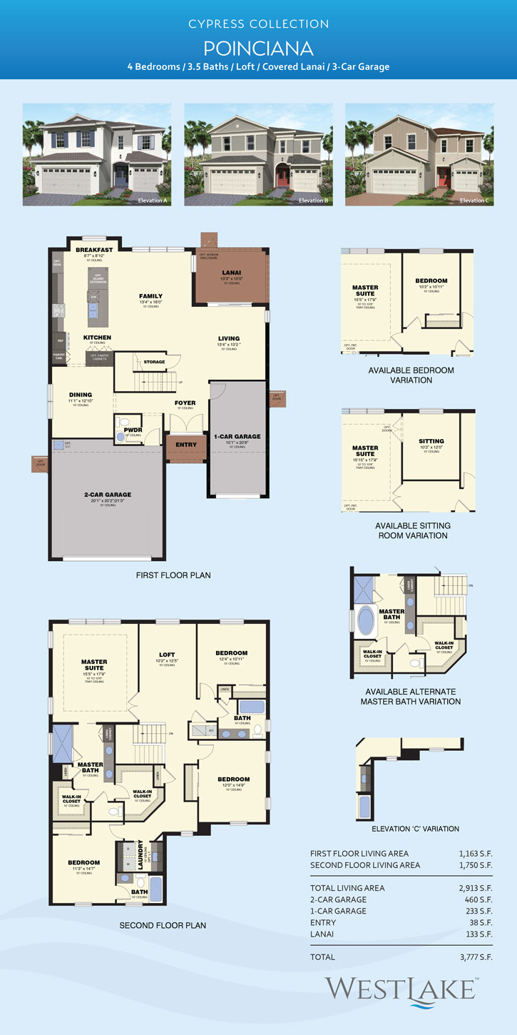 West-Cypress-FP-Poinciana Mercedes Homes Floor Plans Florida Cypress Palm on