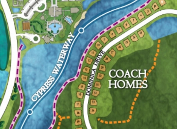 Coach Homes site plan, located along the Cypress Waterway Trail, at Isles of Collier Preserve now on sale.