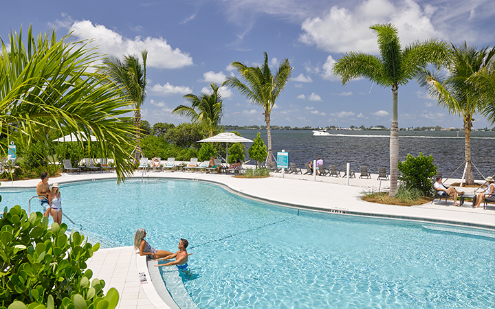 Harbour Isle residents enjoy the beach side pool