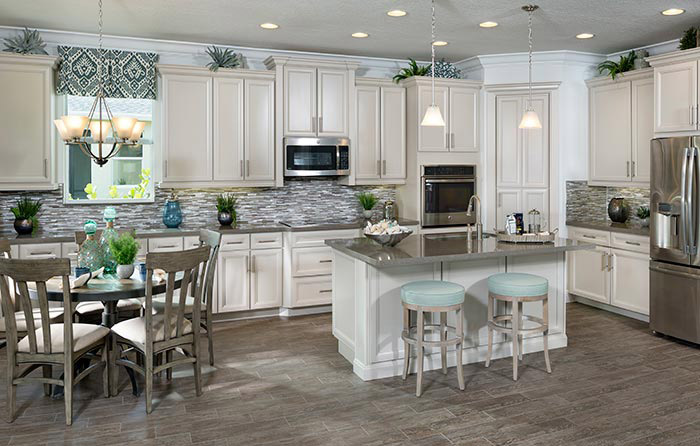Luxury kitchen with center island and breakfast area (Coral Reef Shown)