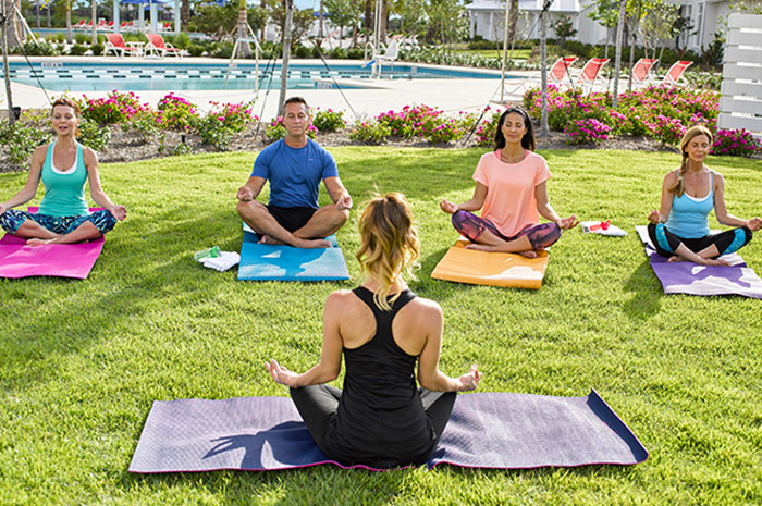 The Isles Club yoga lawn, perfect for unwinding