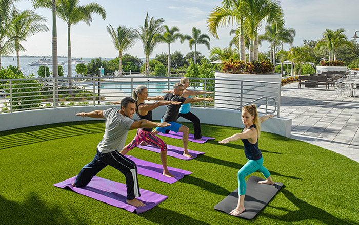 Unwind at the yoga lawn outside the clubhouse