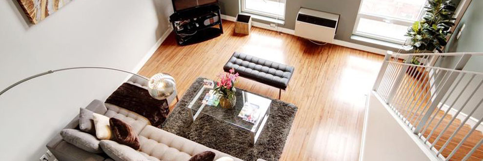 Bright living room in Montreal Furnished Suite