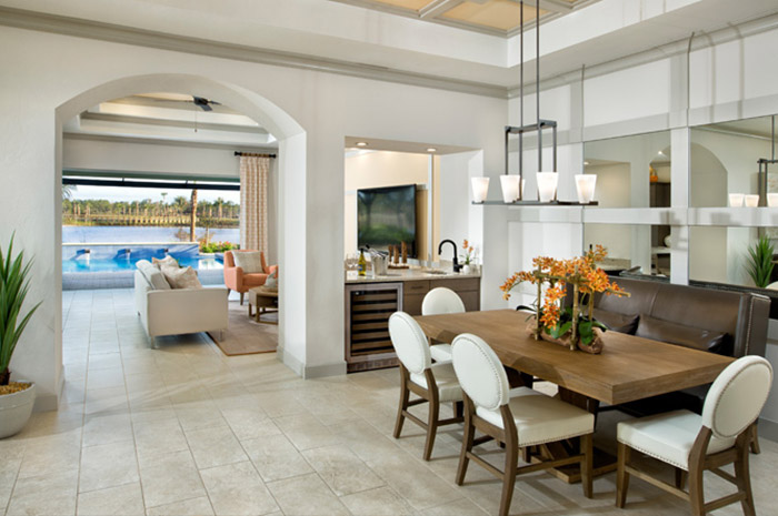 Luxury open dining room in a 2 bedroom single-family home (Alamanda Shown)
