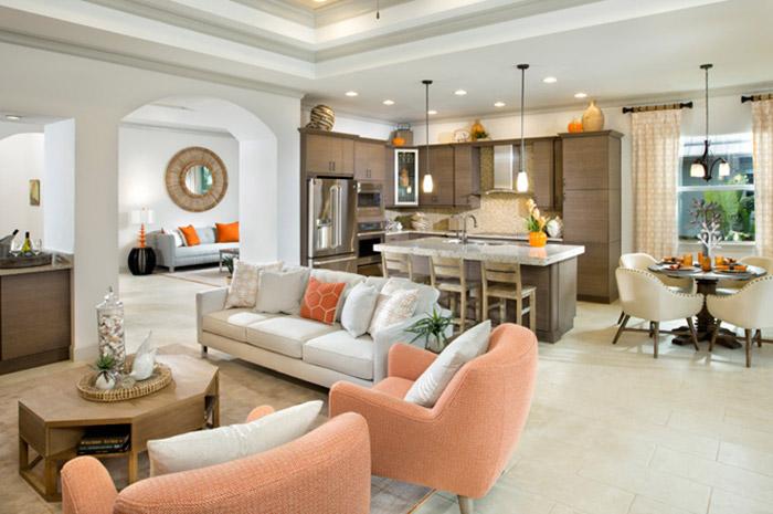 Modern open floorplan living in 2 bedroom 2.5 bathroom single-family home (Alamanda Shown)