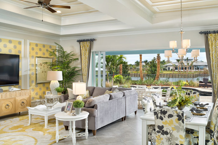 Open floorplan living with water views (Wisteria Shown)
