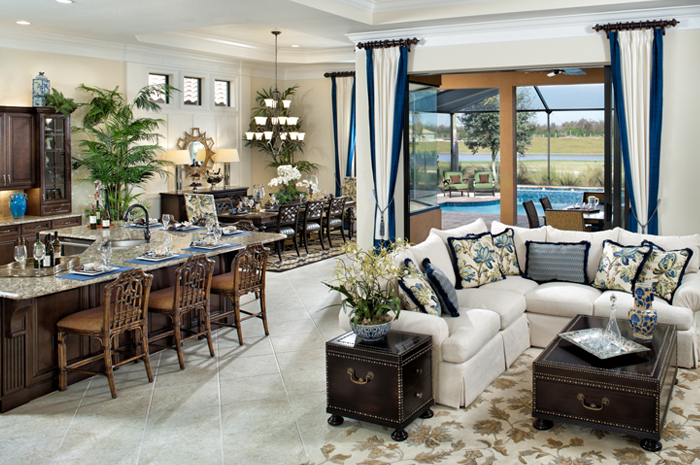 Open foorplan living with adjoining screened lanai (Turnberry Grand Shown)