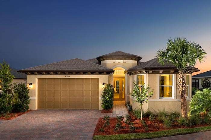 Paver drive and walkways leading up to your 3 bedroom single-family home (Coral Reef Shown)