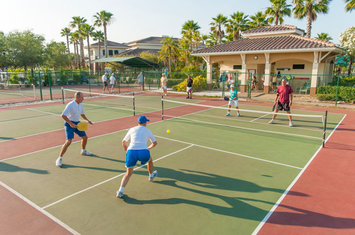 4 pickle ball courts, 10 tennis courts, horseshoes, 2 fenced in dog parks, shuffleboard, and more