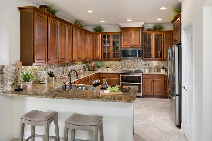 Beautiful kitchen with custom cabinets and granite counter tops (Palm Shown)