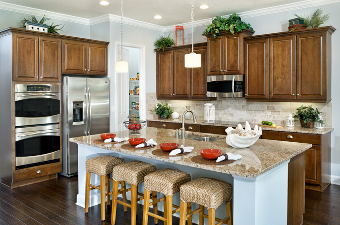 Beautiful custom kitchen with granite counter tops (Solana Shown)
