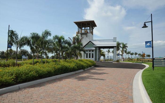 Enter Harbour Isle through a gated guard tower