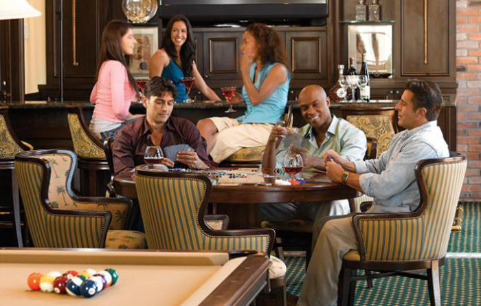 A sports lounge, complete with billiards and cards, is the perfect place to casually unwind after a long day