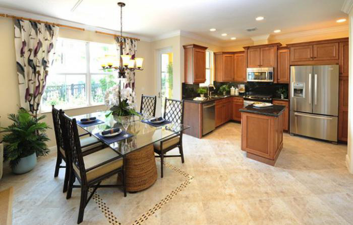 Open kitchen and dining room in spacious townhome with 3 or 4 bedrooms (Milano shown)
