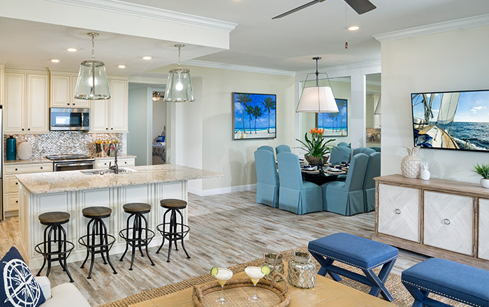 Open kitchen with large center island perfect for entertaining (Oceana shown)