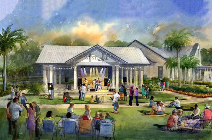 Enjoy a concert on the lawn at Westlake's Central Pavilion