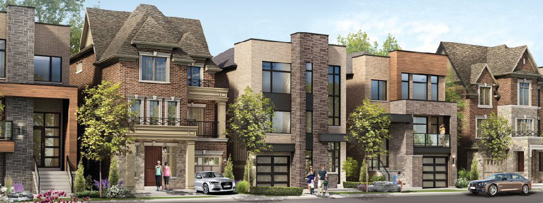 Residential view of Etobicoke community. Single family homes now for sale